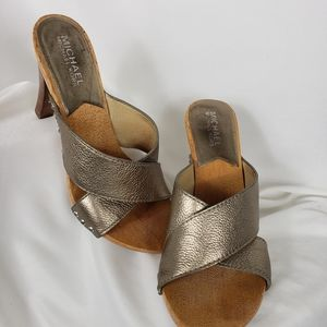 Michael Kors Gold Leather Cross Strap Sandal Heel